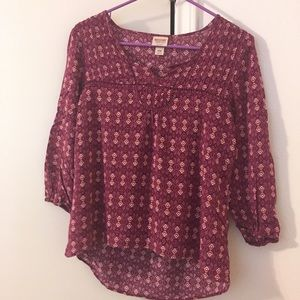 Flowy Mossimo High-Low Pink Patterned Tunic
